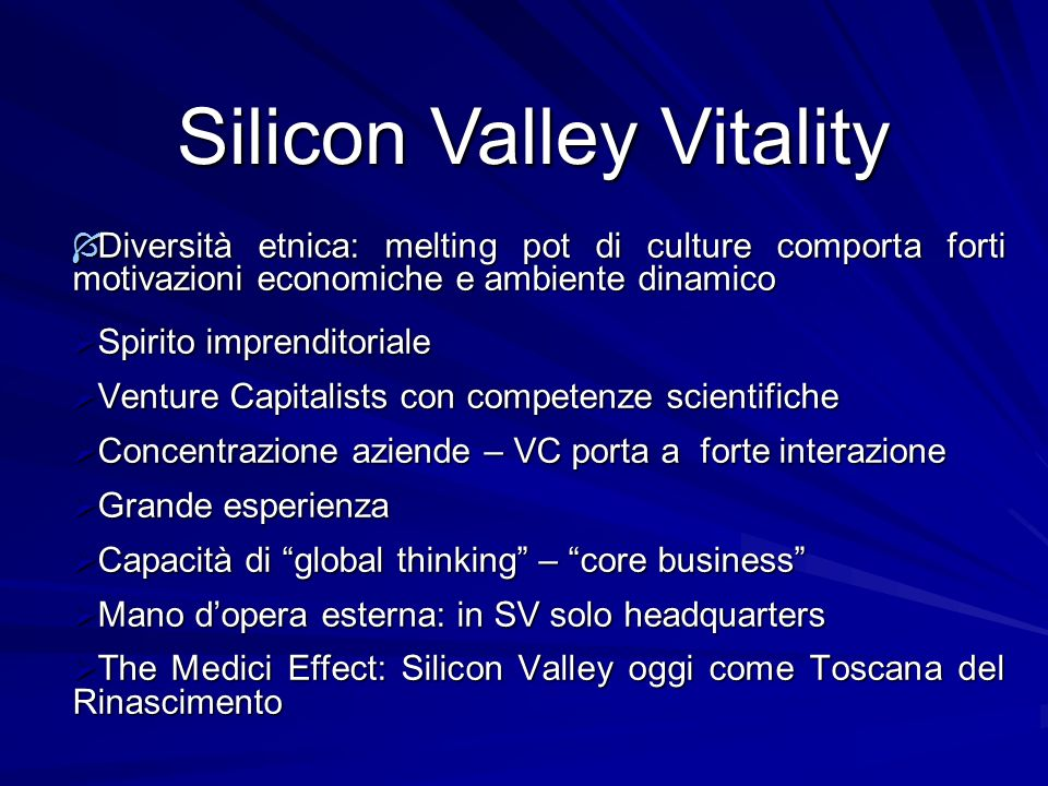 Silicon Valley Vitality