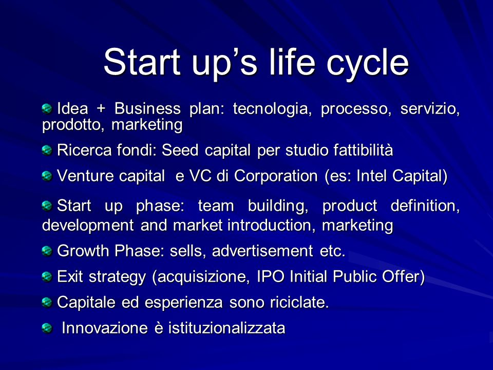 Start up's life cycle Idea + Business plan: tecnologia, processo, servizio, prodotto, marketing. Ricerca fondi: Seed capital per studio fattibilità.