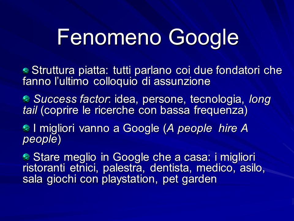 Fenomeno Google Struttura piatta: tutti parlano coi due fondatori che fanno l'ultimo colloquio di assunzione.