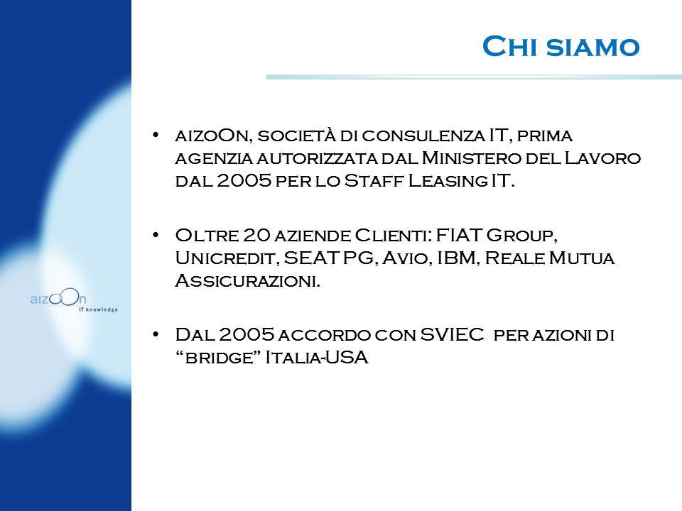Chi siamo aizoOn, società di consulenza IT, prima agenzia autorizzata dal Ministero del Lavoro dal 2005 per lo Staff Leasing IT.