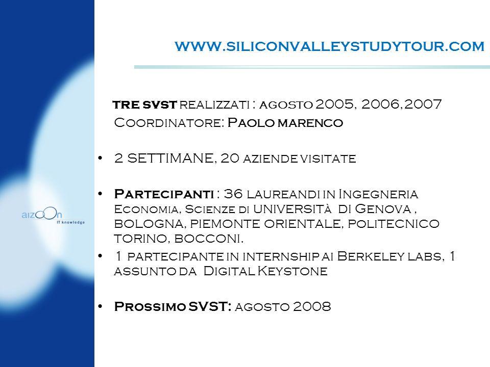 WWW.SILICONVALLEYSTUDYTOUR.COM tre svst realizzati : AGOSTO 2005, 2006,2007. Coordinatore: Paolo marenco.