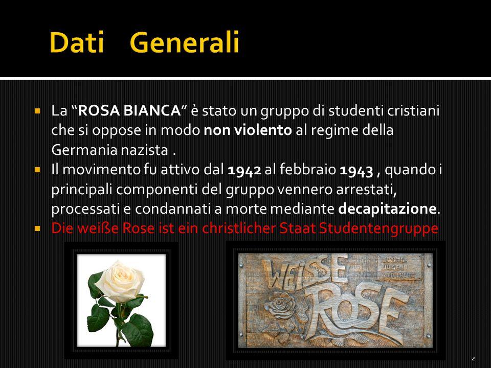 Dati Generali La ROSA BIANCA è stato un gruppo di studenti cristiani che si oppose in modo non violento al regime della Germania nazista .