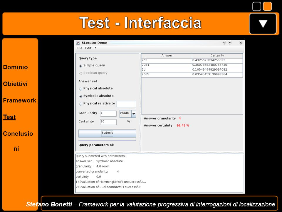Test - Interfaccia Dominio Obiettivi Framework Test Conclusioni