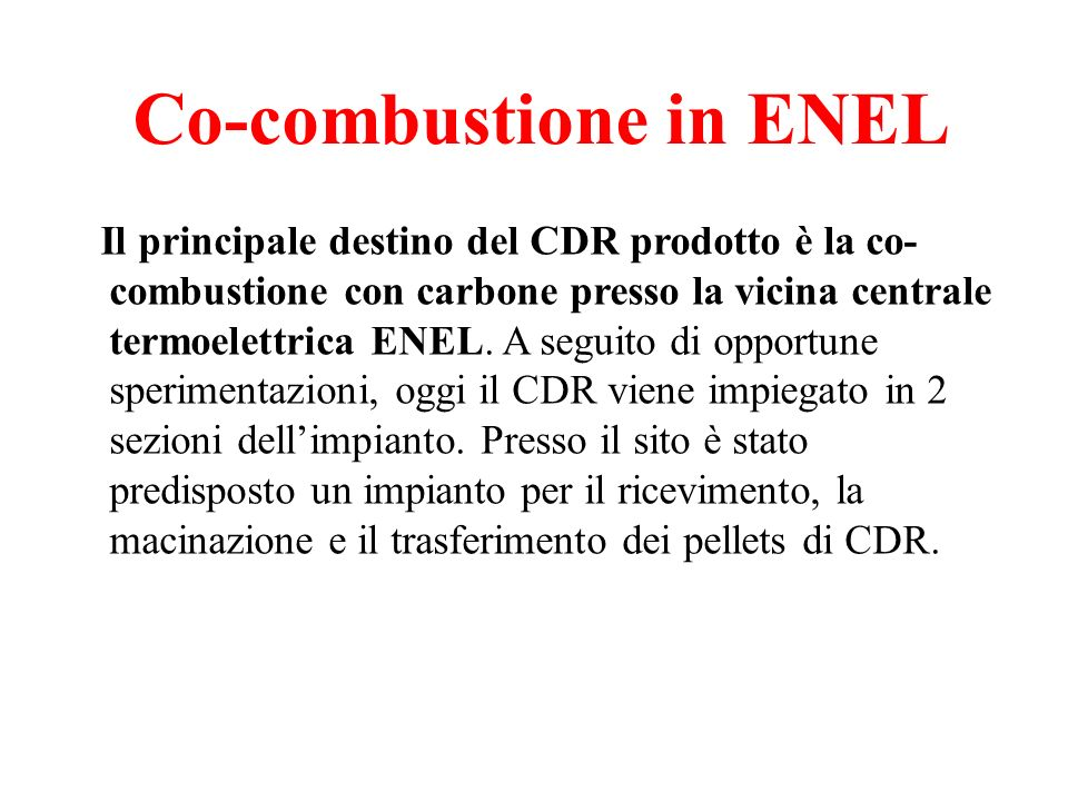 Co-combustione in ENEL