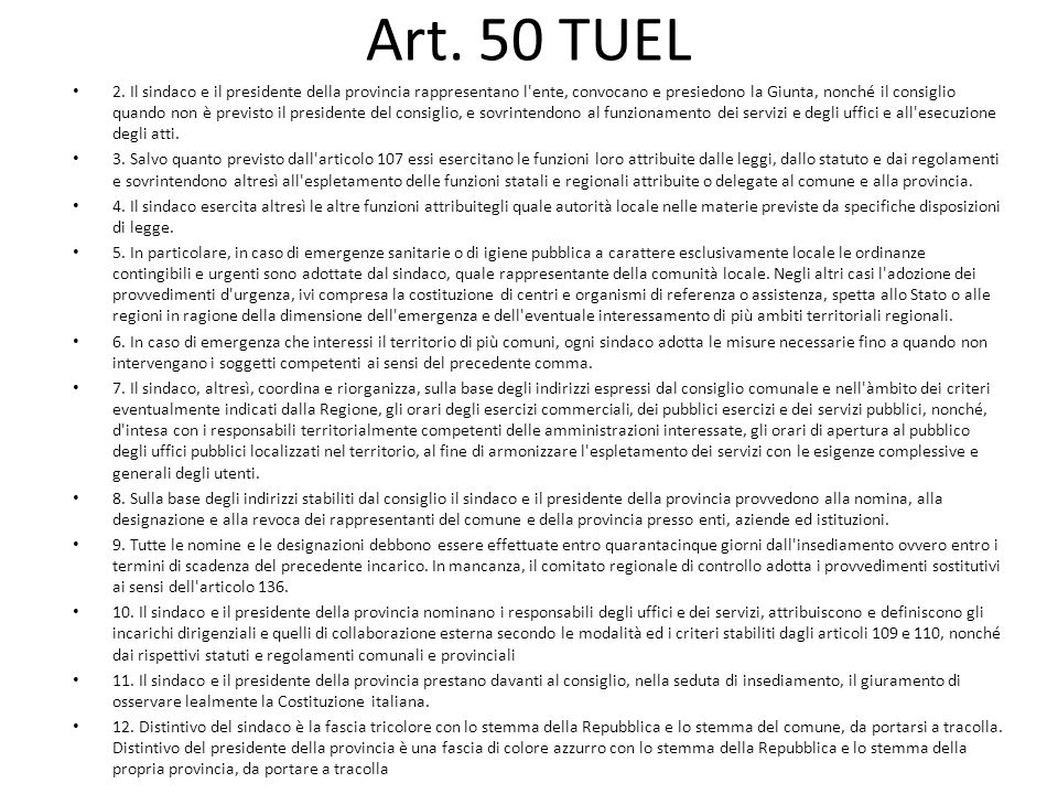 Art. 50 TUEL