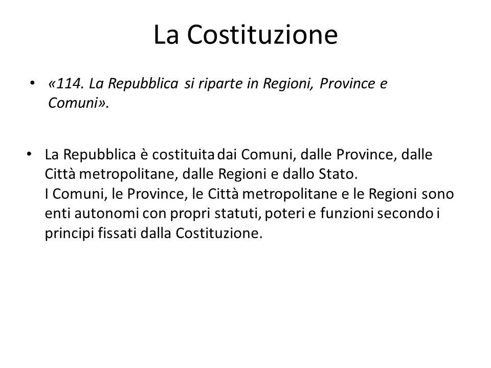 La Costituzione «114. La Repubblica si riparte in Regioni, Province e Comuni».