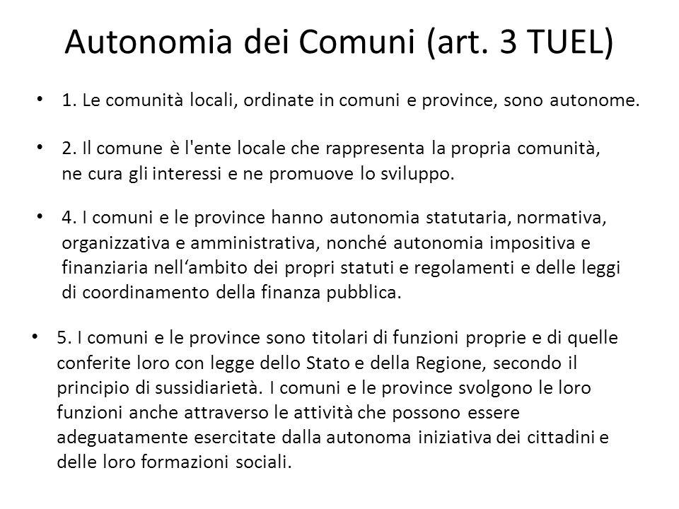Autonomia dei Comuni (art. 3 TUEL)