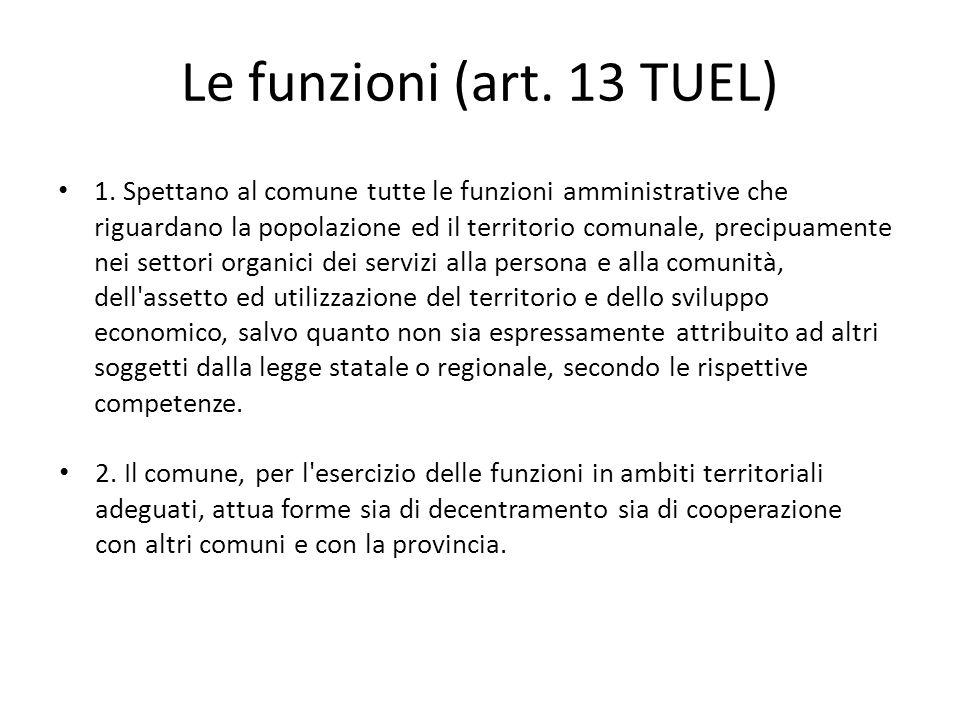 Le funzioni (art. 13 TUEL)