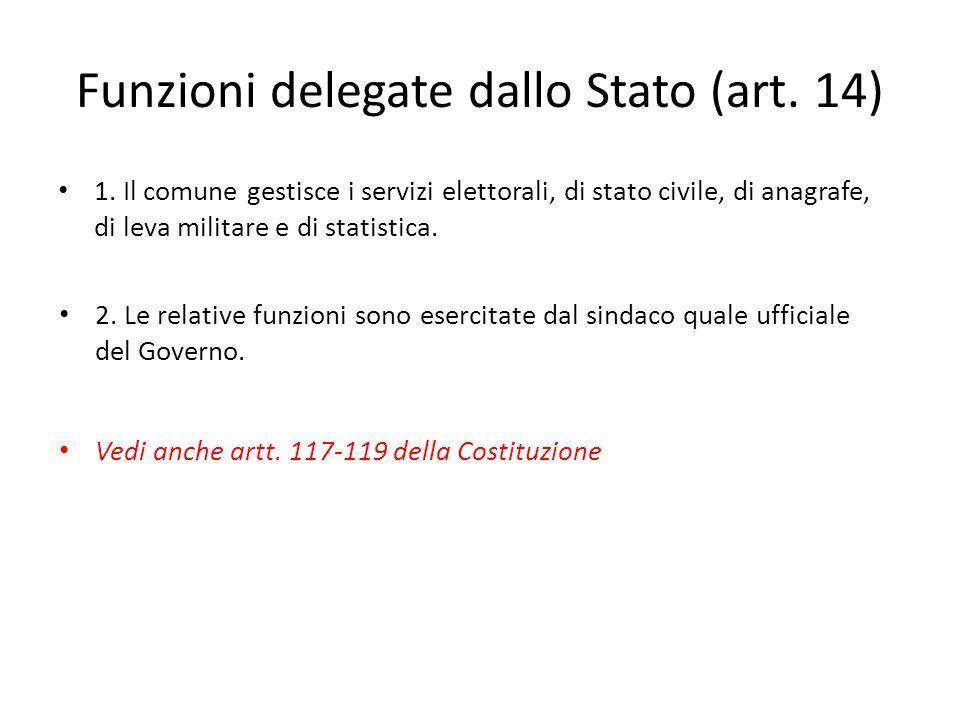 Funzioni delegate dallo Stato (art. 14)