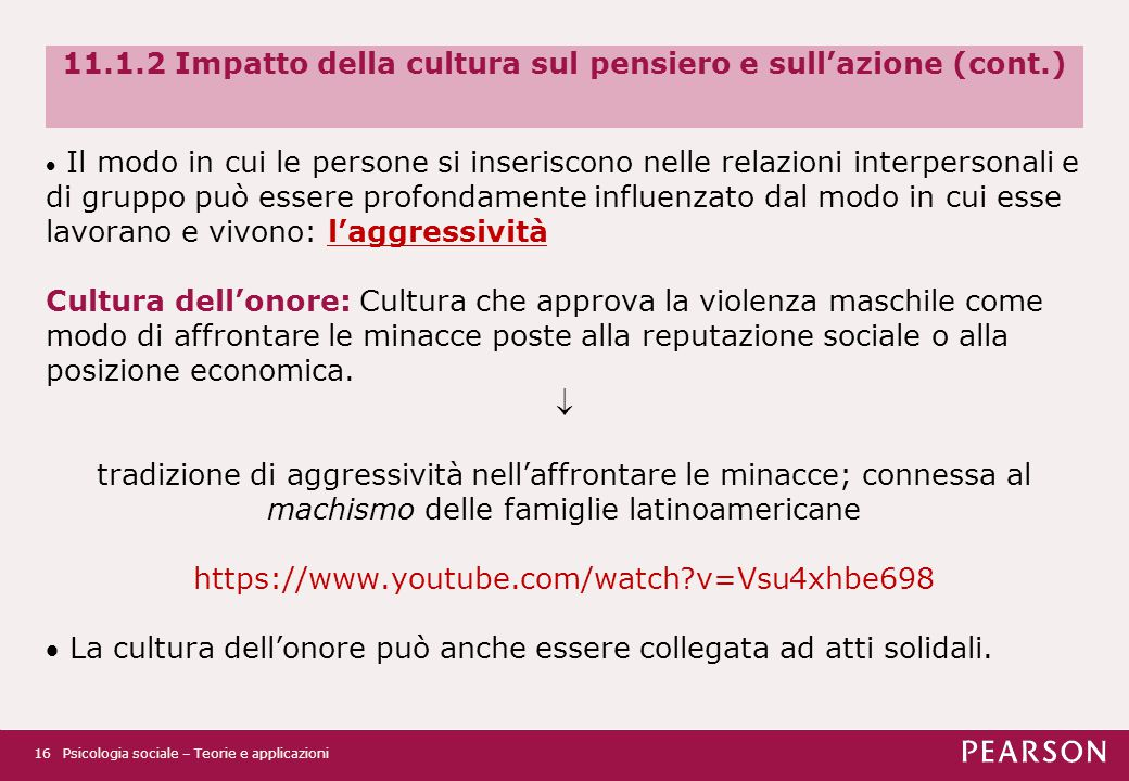 11.1.2 Impatto della cultura sul pensiero e sull'azione (cont.)