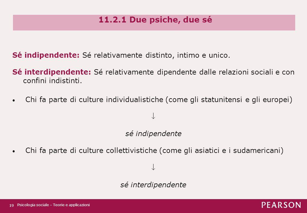 11.2.1 Due psiche, due sé Sé indipendente: Sé relativamente distinto, intimo e unico.