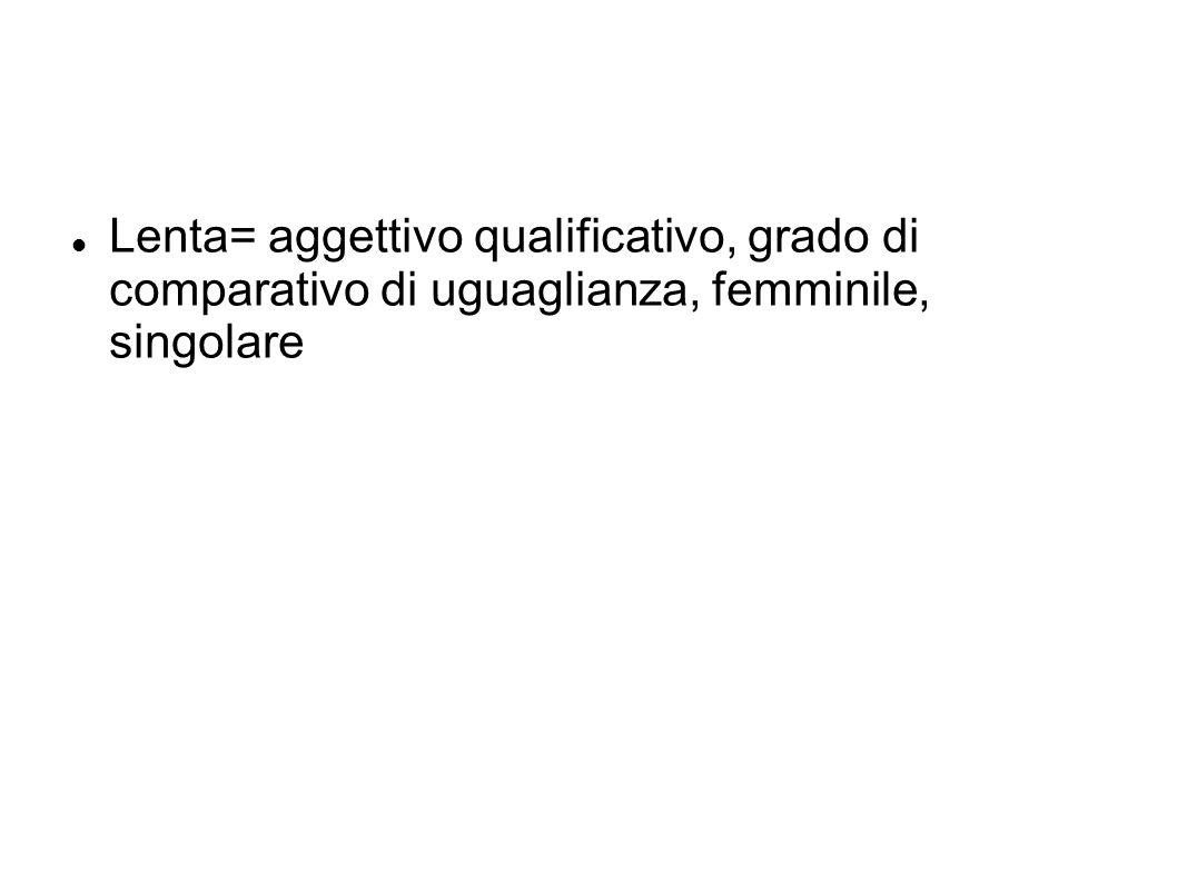 Lenta= aggettivo qualificativo, grado di comparativo di uguaglianza, femminile, singolare