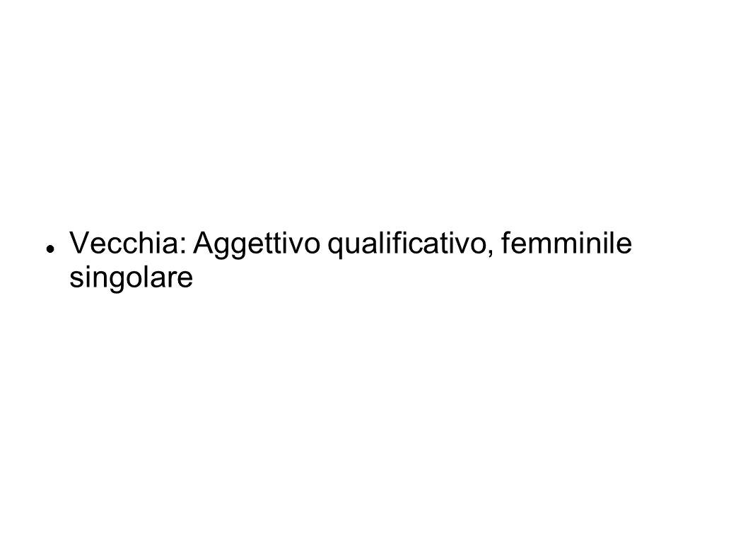 Vecchia: Aggettivo qualificativo, femminile singolare