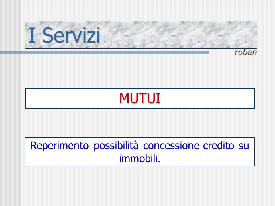 Reperimento possibilità concessione credito su immobili.