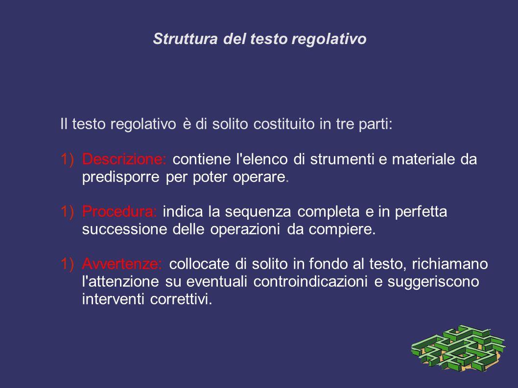 Struttura del testo regolativo