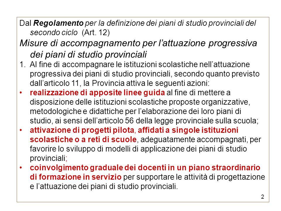 Dal Regolamento per la definizione dei piani di studio provinciali del secondo ciclo (Art. 12)