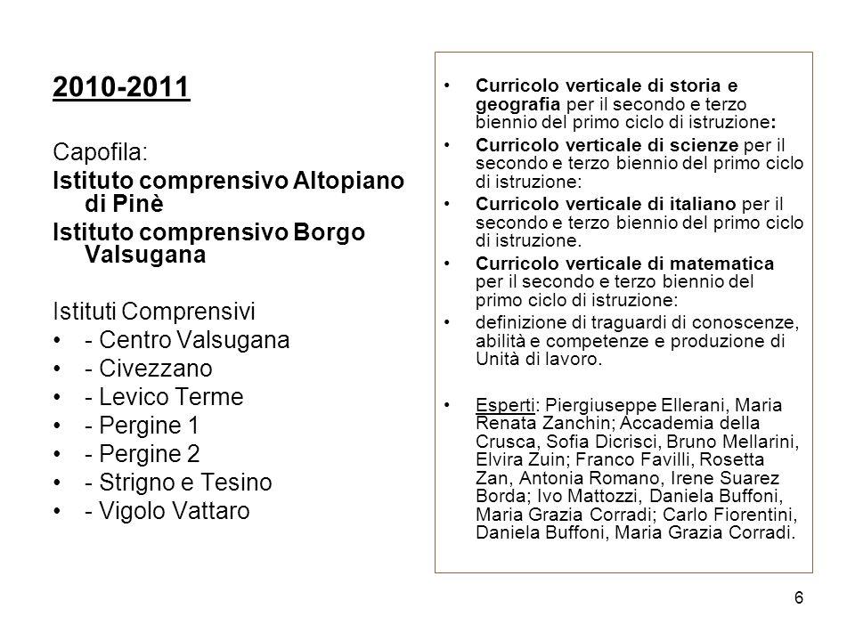 2010-2011 Capofila: Istituto comprensivo Altopiano di Pinè