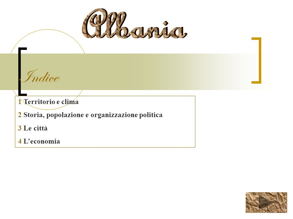 Indice Albania 1 Territorio e clima