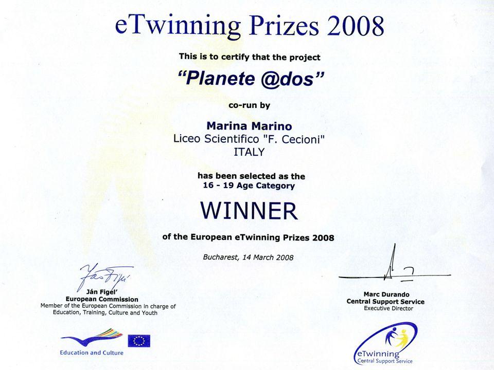Il Progetto Planète @Ados è stato il vincitore del Primo Premio su 32000 scuole europee nell'anno 2008