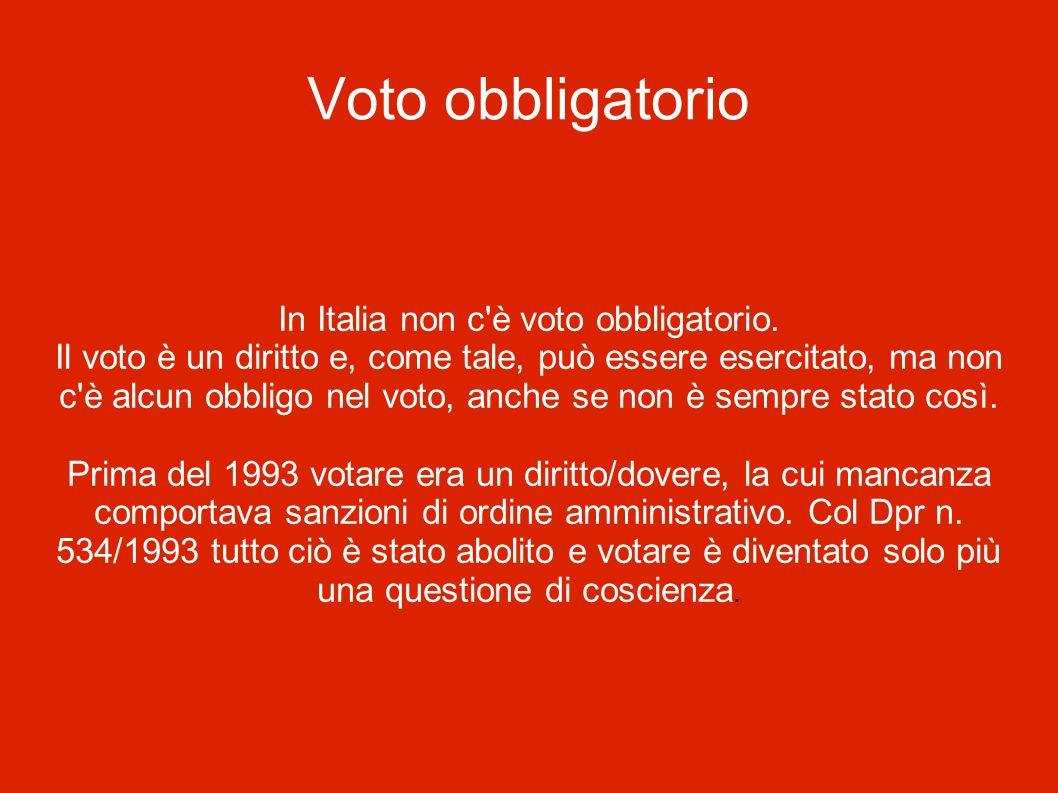 In Italia non c è voto obbligatorio.