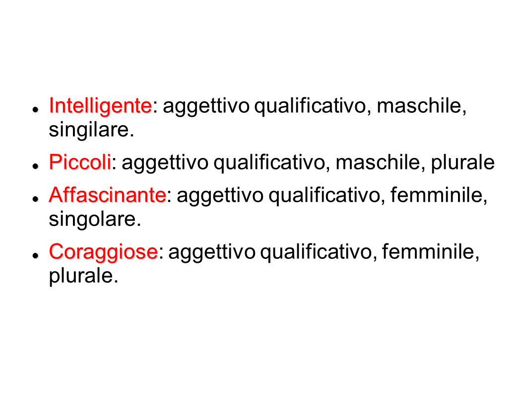 Intelligente: aggettivo qualificativo, maschile, singilare.
