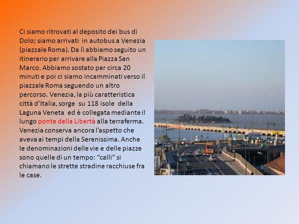 Ci siamo ritrovati al deposito dei bus di Dolo; siamo arrivati in autobus a Venezia (piazzale Roma).