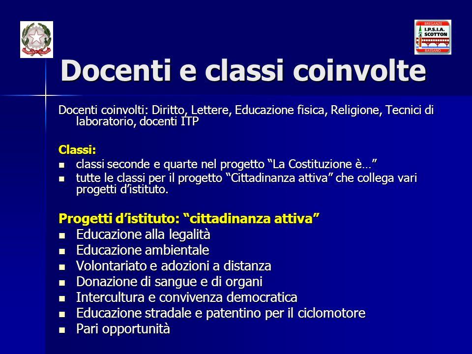 Docenti e classi coinvolte