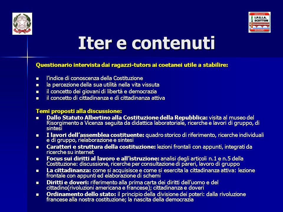 Iter e contenuti Questionario intervista dai ragazzi-tutors ai coetanei utile a stabilire: l'indice di conoscenza della Costituzione.