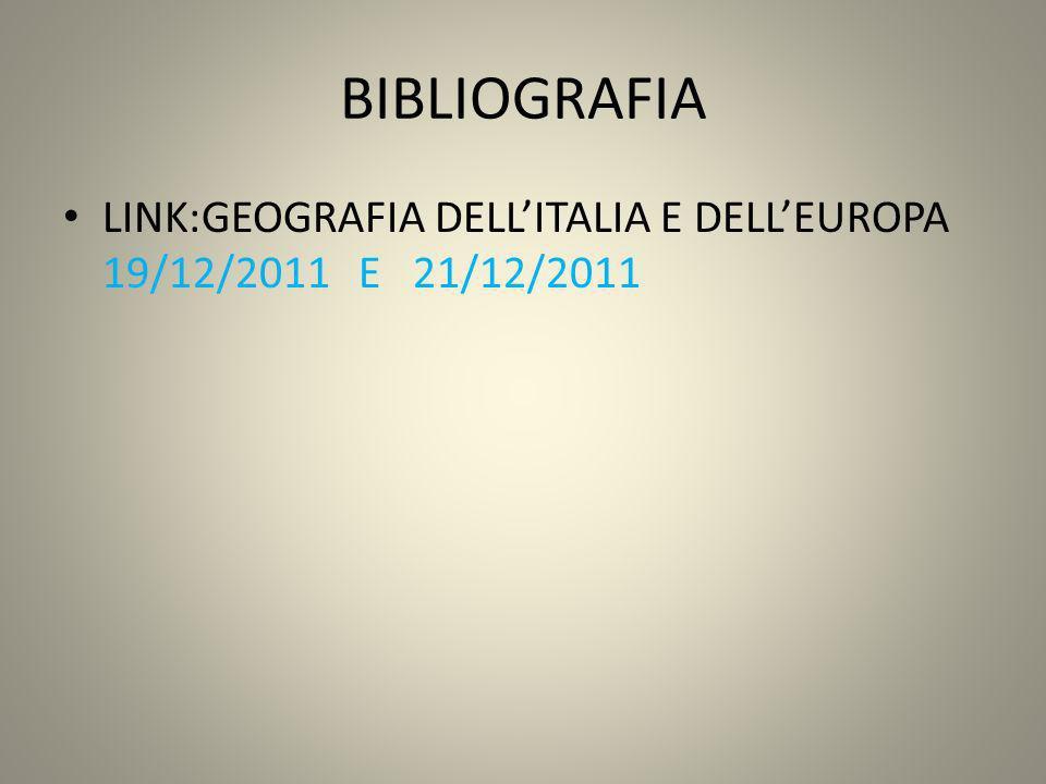 BIBLIOGRAFIA LINK:GEOGRAFIA DELL'ITALIA E DELL'EUROPA 19/12/2011 E 21/12/2011