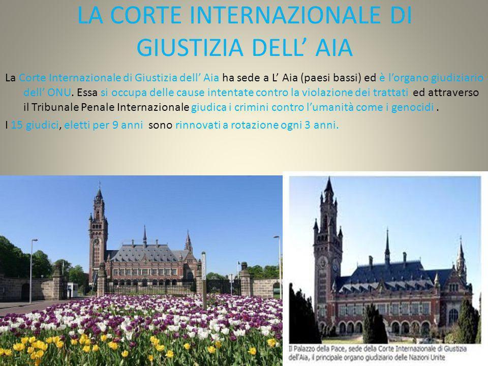 LA CORTE INTERNAZIONALE DI GIUSTIZIA DELL' AIA