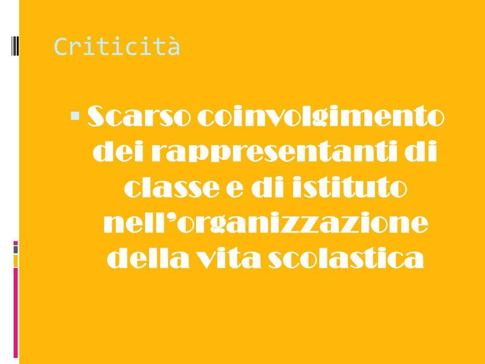 Criticità Scarso coinvolgimento dei rappresentanti di classe e di istituto nell'organizzazione della vita scolastica.