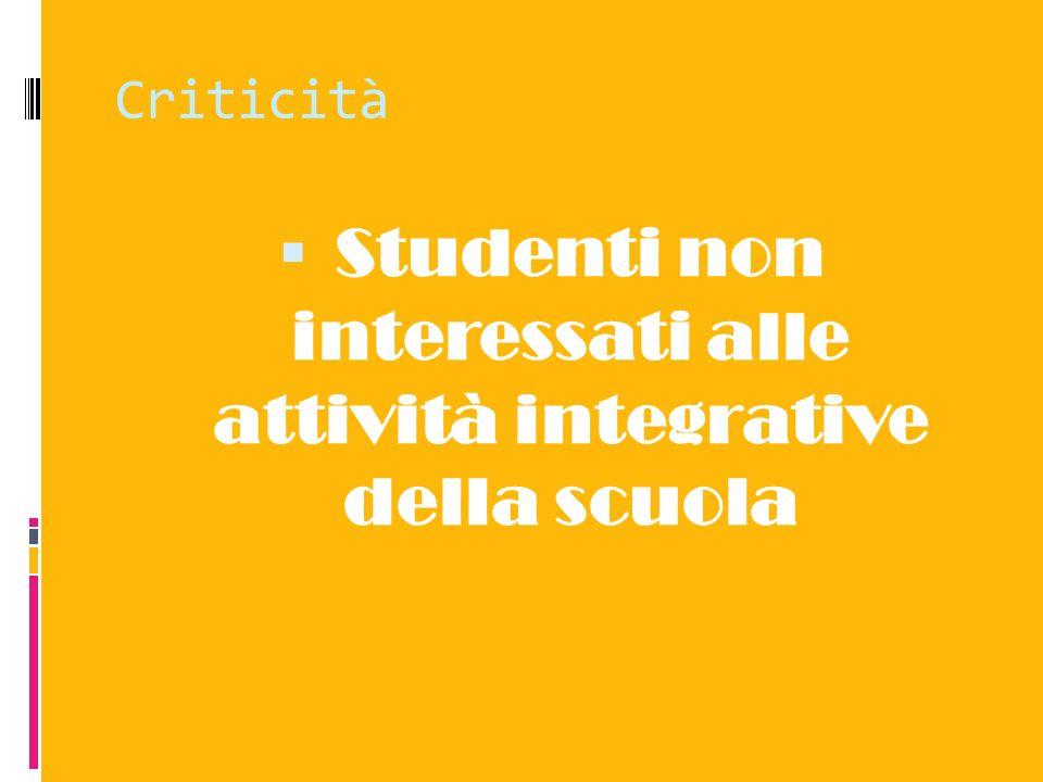 Studenti non interessati alle attività integrative della scuola