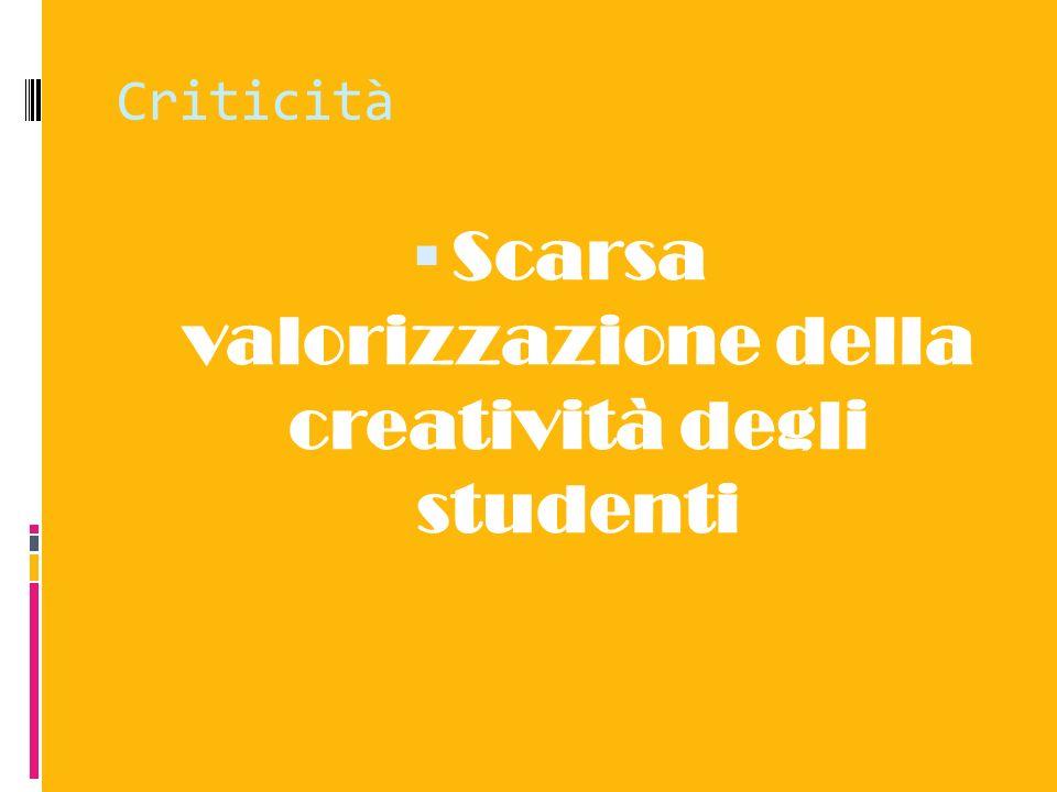 Scarsa valorizzazione della creatività degli studenti