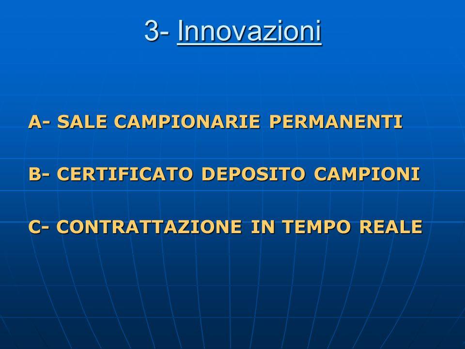 3- Innovazioni A- SALE CAMPIONARIE PERMANENTI