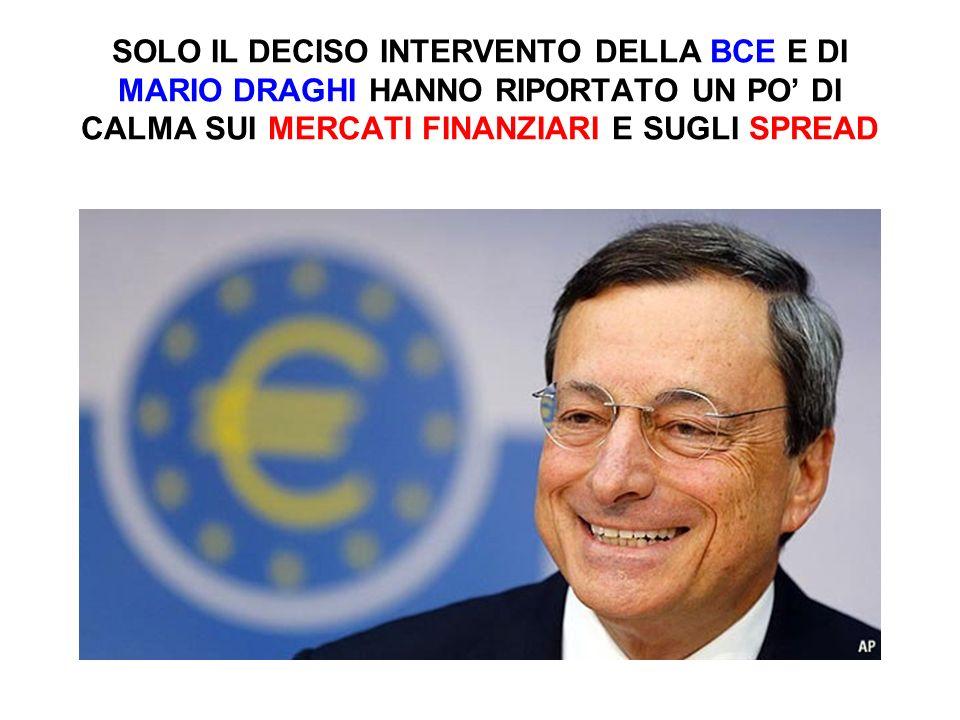 SOLO IL DECISO INTERVENTO DELLA BCE E DI MARIO DRAGHI HANNO RIPORTATO UN PO' DI CALMA SUI MERCATI FINANZIARI E SUGLI SPREAD