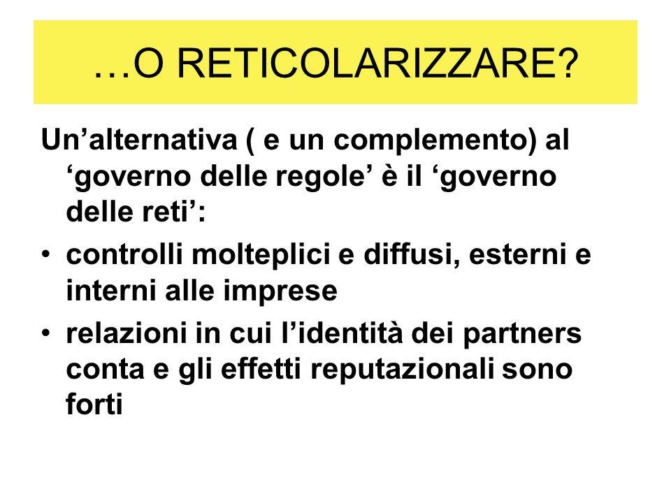 …O RETICOLARIZZARE Un'alternativa ( e un complemento) al 'governo delle regole' è il 'governo delle reti':