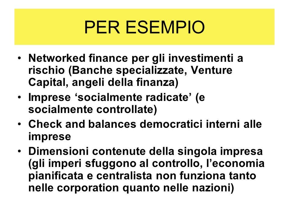 PER ESEMPIO Networked finance per gli investimenti a rischio (Banche specializzate, Venture Capital, angeli della finanza)