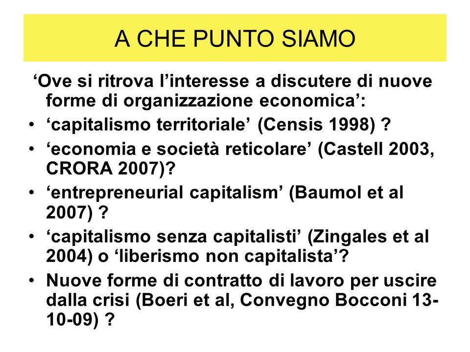 A CHE PUNTO SIAMO 'capitalismo territoriale' (Censis 1998)