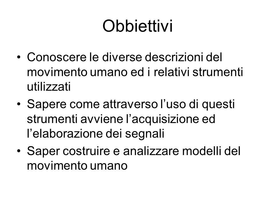 Obbiettivi Conoscere le diverse descrizioni del movimento umano ed i relativi strumenti utilizzati.
