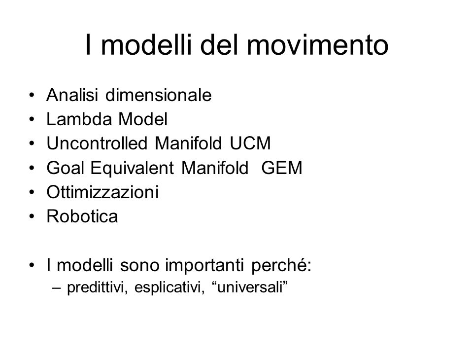 I modelli del movimento