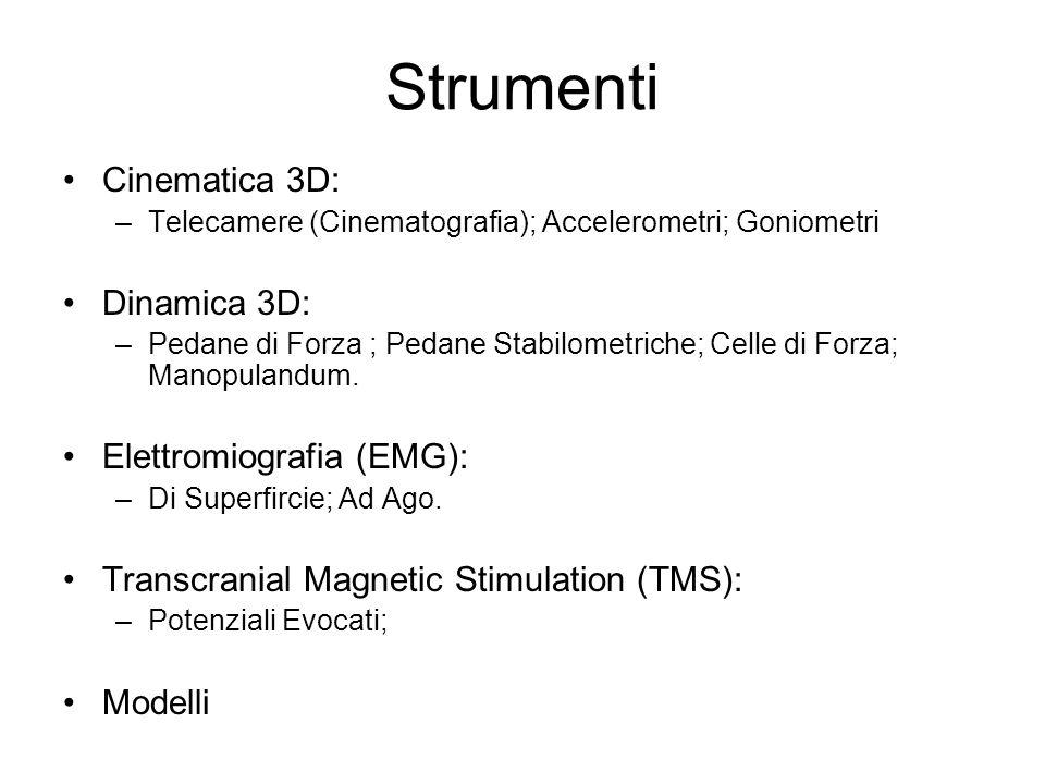 Strumenti Cinematica 3D: Dinamica 3D: Elettromiografia (EMG):