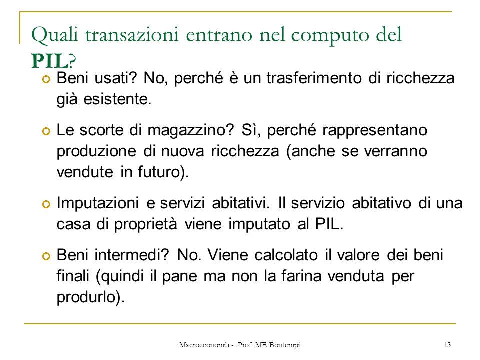 Quali transazioni entrano nel computo del PIL