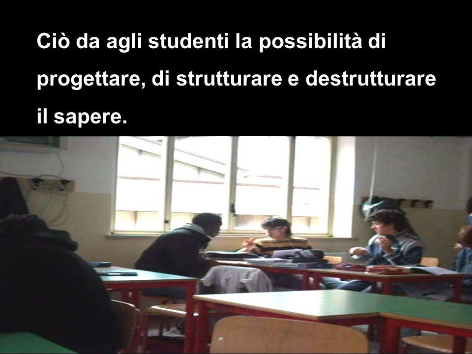 Ciò da agli studenti la possibilità di progettare, di strutturare e destrutturare il sapere.