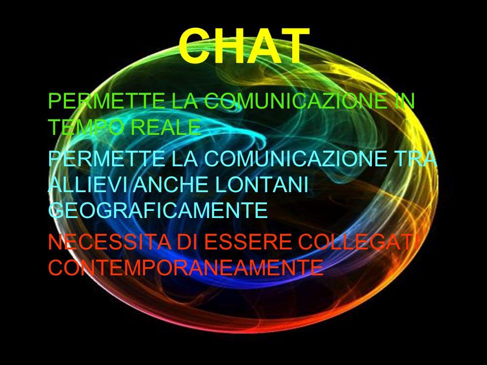 CHAT PERMETTE LA COMUNICAZIONE IN TEMPO REALE