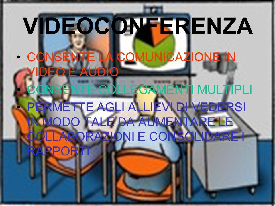 VIDEOCONFERENZA CONSENTE LA COMUNICAZIONE IN VIDEO E AUDIO