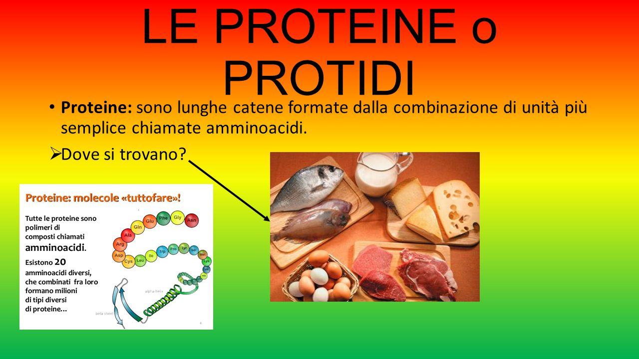 LE PROTEINE o PROTIDI Proteine: sono lunghe catene formate dalla combinazione di unità più semplice chiamate amminoacidi.