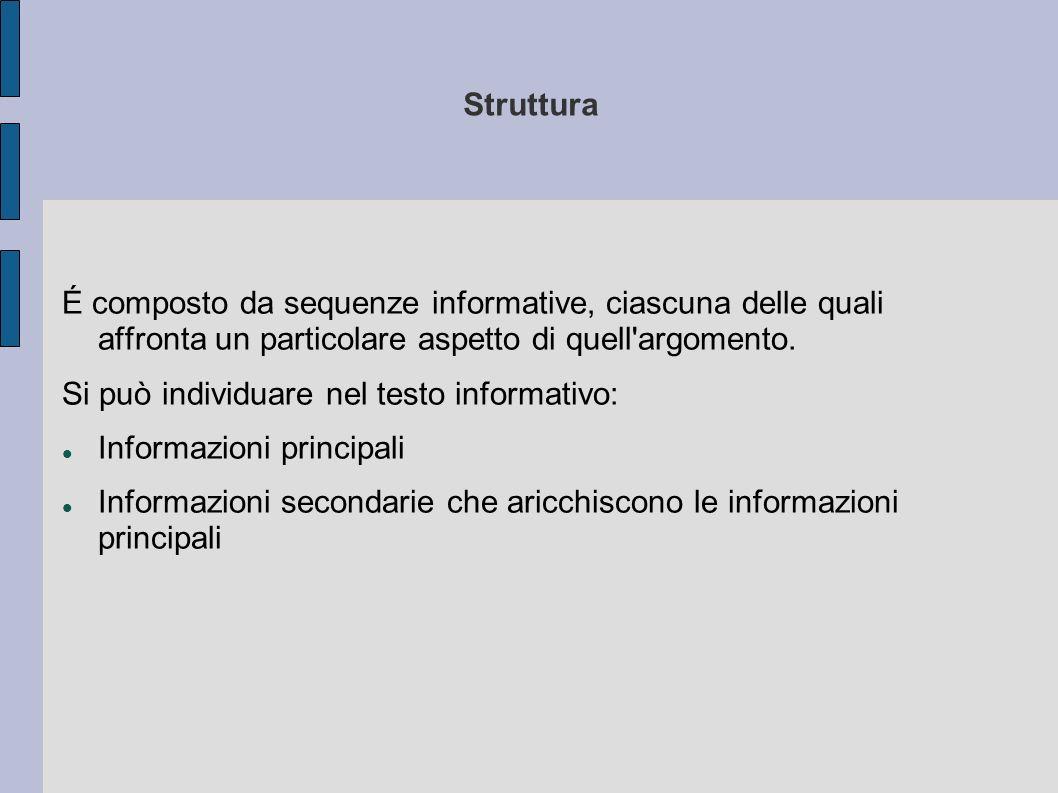 Struttura É composto da sequenze informative, ciascuna delle quali affronta un particolare aspetto di quell argomento.