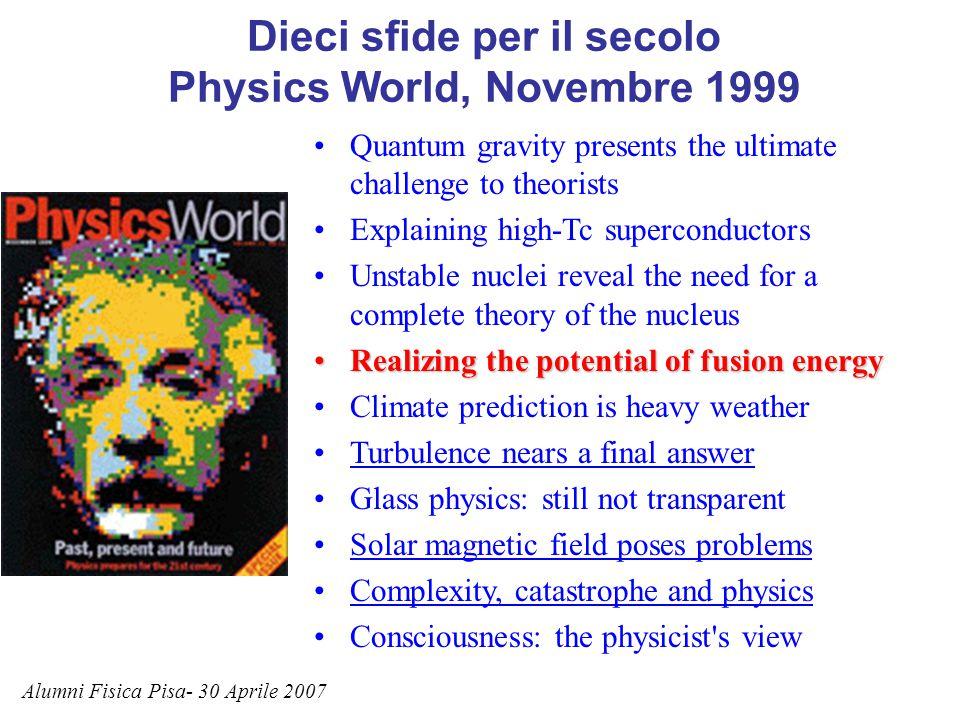 Dieci sfide per il secolo Physics World, Novembre 1999