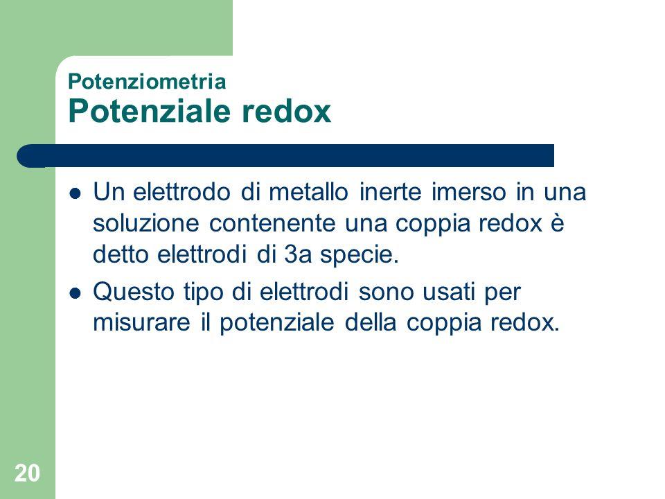 Potenziometria Potenziale redox