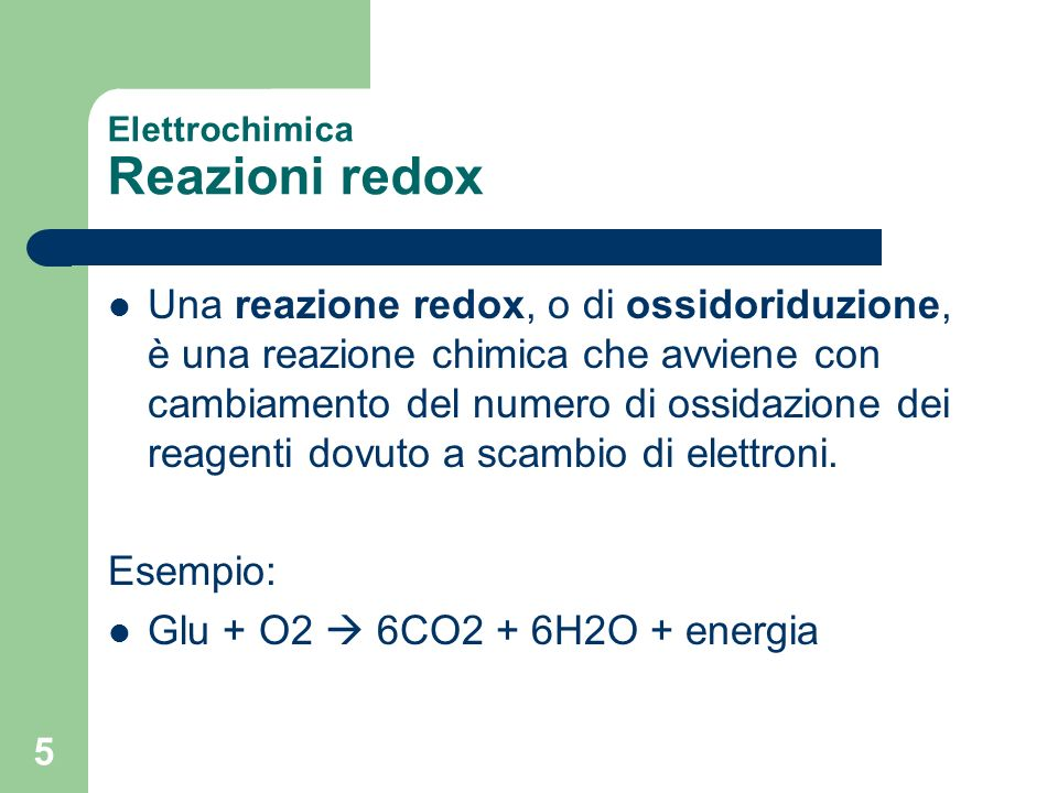 Elettrochimica Reazioni redox